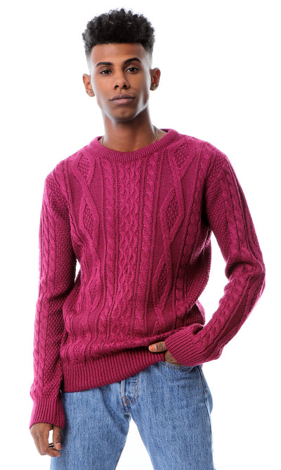 Light Weight Knitted Violet Red Pullover