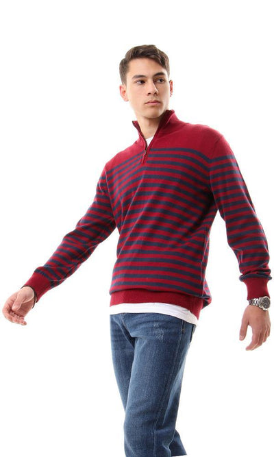 55287 Zipped Mock Neck Striped Dark Red & Navy Blue Sweater - Ravin