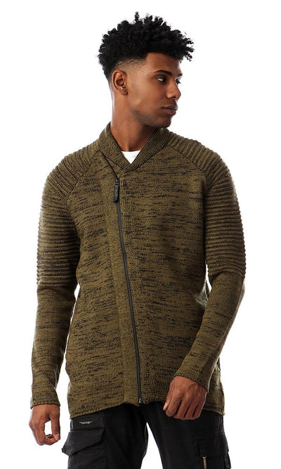 55289 Zipped Full Sleeves Knitted Sweater - Heather Olive - Ravin