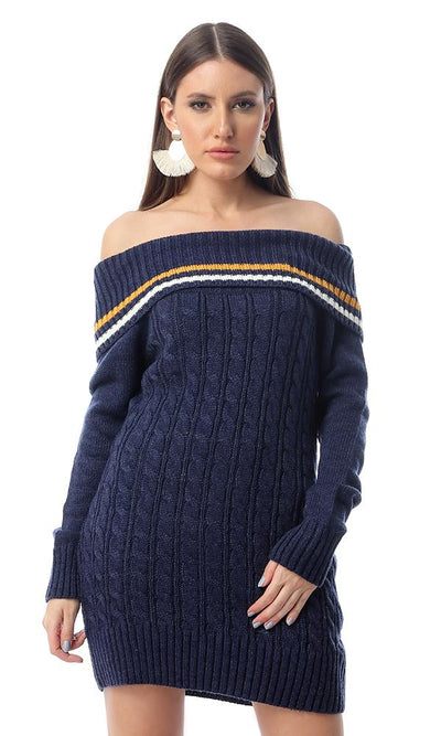 55298 Turtle Neck Knitted Navy Blue Winter Pullover - Ravin