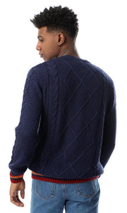 55302 Kintted Round Slip On Navy Blue Pullover - Ravin