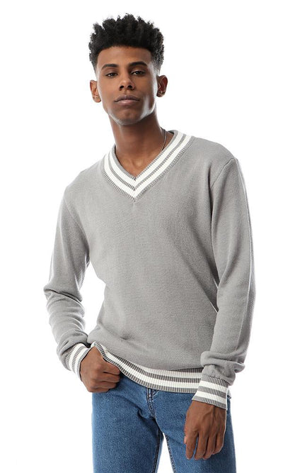 55304 Striped V-Neck Pullover Cool Grey - Ravin