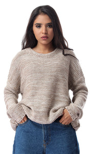 55305 Round Neck Loose Knitted Heather Beige Pullover