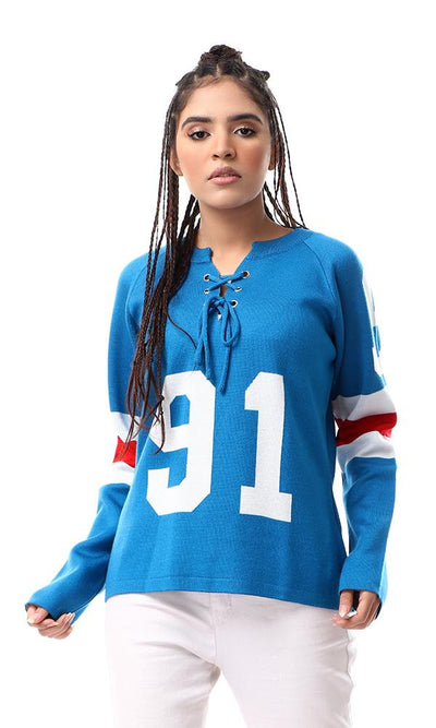 55313 Lace Up Round Neck Blue Trendy Sweater