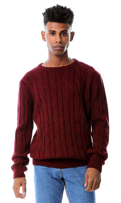 Maroon Knitted Braids Slip On Pullover