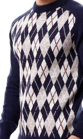 55319 Round Neck With Argyle Pattern Navy Blue Sweater - Ravin