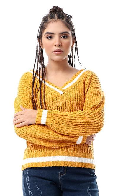 55322 Soft Chunky Knit Mustard Loose Winter Pullover