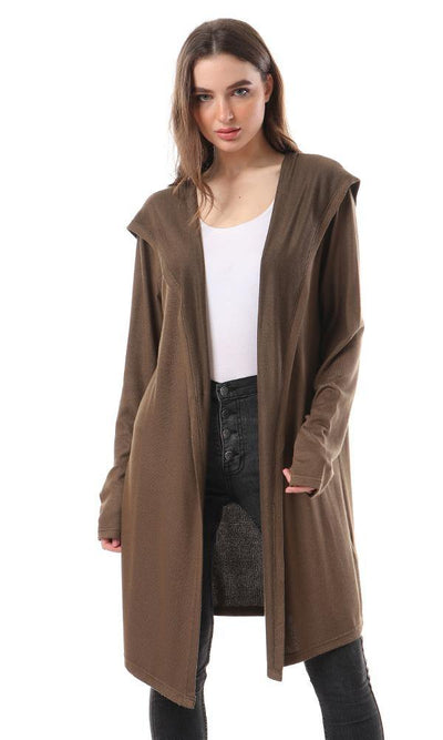 55332 Open Neckline Hooded Cardigan - Army Olive