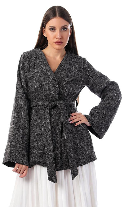 55386 Heather Grey Notched Collar Coat - Ravin