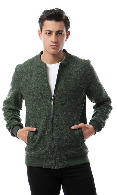 55436 Heavy Zipped Heather Dark Green Sweatshirt