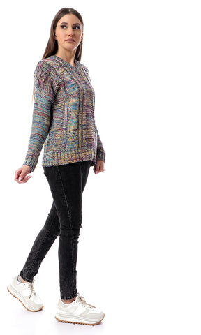 55441 Colorful Knitted V-Neck Winter Pullover