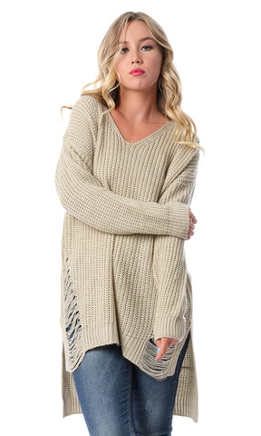 55444 Front Ripped Knitted Dark Beige Pullover