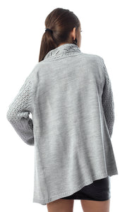 55489 Heather Light Grey Elegant Slip On Cardigan