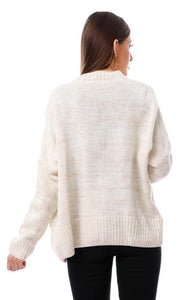 55493 Knitted Heather Beige Cardigan With Pockets - Ravin