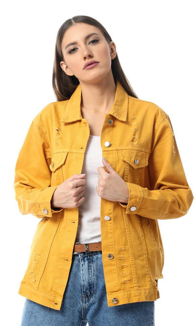 55558 Mustard Buttoned Distressed Denim Jacket