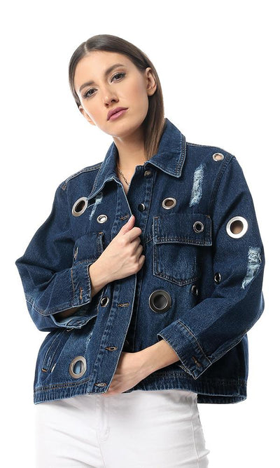 55560 Dark Blue Jeans Decorative Metal Holes Denim Jacket