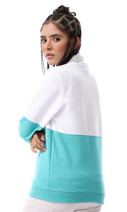 55588 Bi-Tone Patterned High Neck Sweatshirt - White & Medium Aquamarine - Ravin