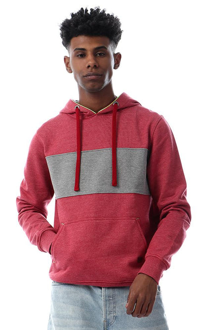 55642 Cozy Kangaroo Pocket Heather Red Hoodie