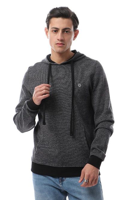 55653 Simple Kangaroo Pocket Heather Dark Grey Hoodie - Ravin