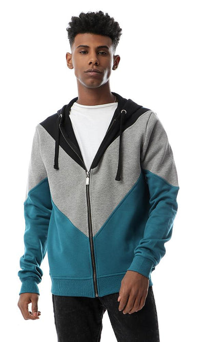 55662 Colour Block Zipped Hoodie Teal Green, Black & Grey - Ravin