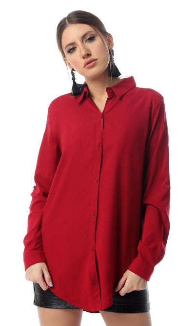 55700 Solid Long Sleeve Dark Red Buttoned Shirt