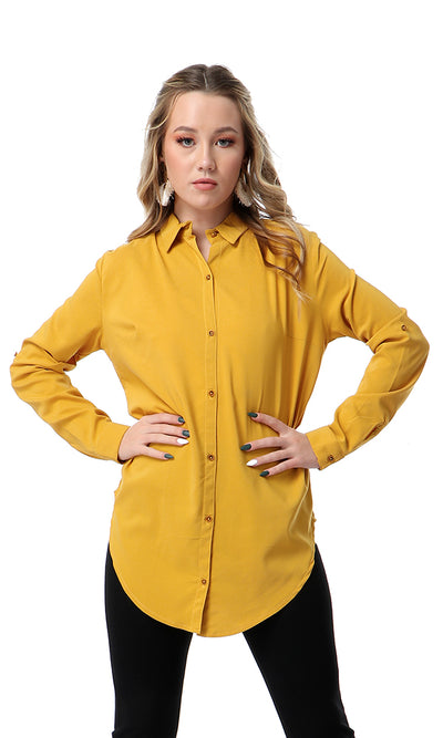 Soft Long Sleeves Goldenrod Solid Shirt
