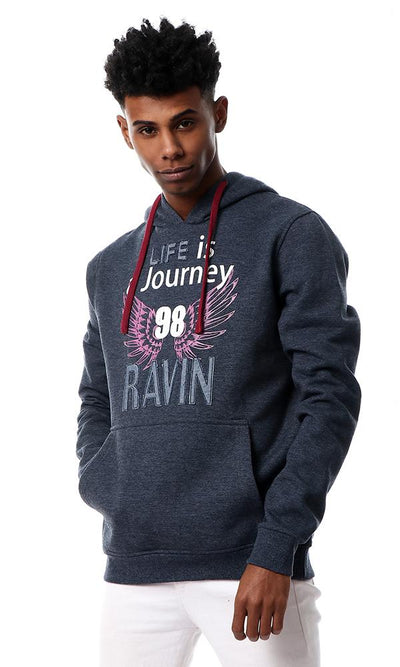 "55759 ""Life Is A Journey"" Kangaroo Pocket Sweatshirt - Heather Navy Blue - Ravin"