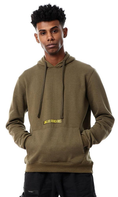 55794 Hooded Neck Olive Sweatshirt With Front Pocket - Ravin