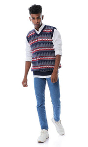55806 Sleeveless V-Neck Navy Blue Knitted Vest - Ravin