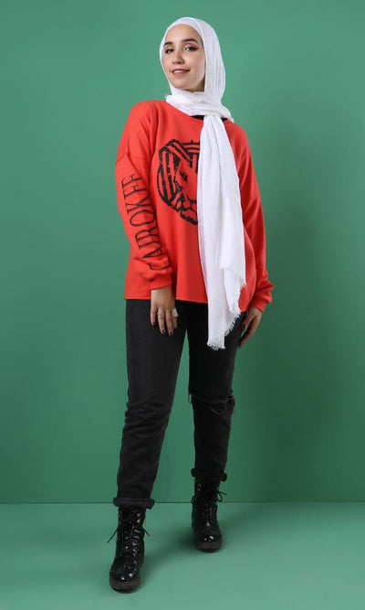 "55817 Hijab Collection Slip On Printed ""Cairokee"" Casual Coral Sweatshirt - Ravin"