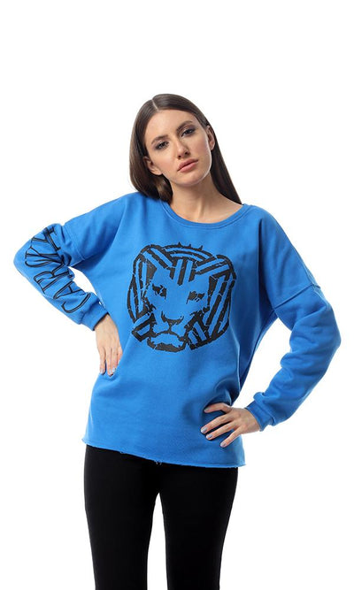 "55818 ""Cairokee"" Printed Long Sleeves Royal Blue Sweatshirt - Ravin"