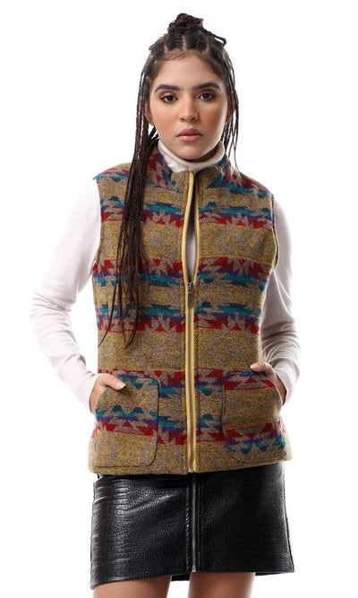 55839 Colorful Geometric Multicolour Vest With Pockets - Ravin