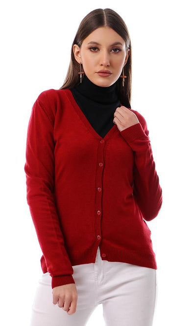 55860 Basic Solid V-Neck Burgundy Light Cardigan - Ravin
