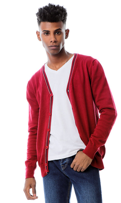 55864 Deep V-Neck Long Sleeves Burgundy Cardigan