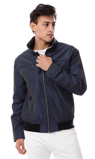 55867 Zip Through Neck Long Sleeves Blue Black Jacket - Ravin