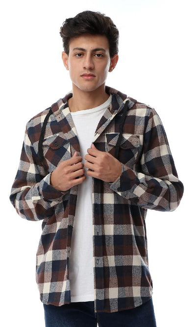 55876 Hooded Neck With Drawstring Plaids Shirt - Navy Blue & Brown