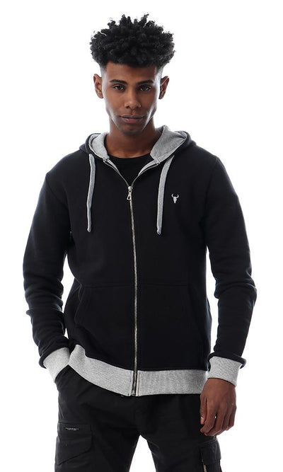 55908 Simple Comfy Hooded Black Zipped Sweatshirt - Ravin