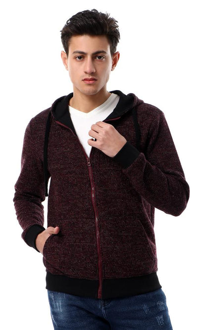 55929 Knitted Squares With Front Pockets Black & Dark Red Hoodie - Ravin