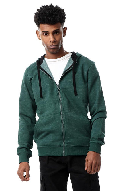 55939 Zipper Through Front Pocket Heather Green Hoodie - Ravin