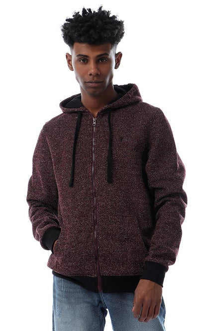 55943 Stylish Hooded Heather Burgundy Sweatshirt
