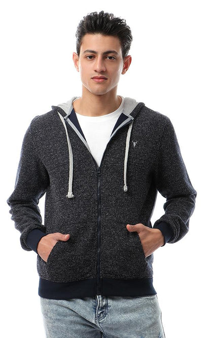 55944 Fashionable Hooded Neck Heather Navy Blue Hoodie - Ravin