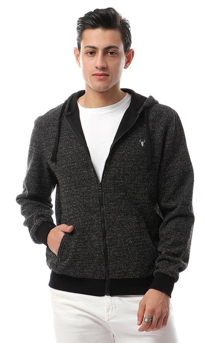 55945 Zipped Hooded Casual Sweater Heather Black - Ravin