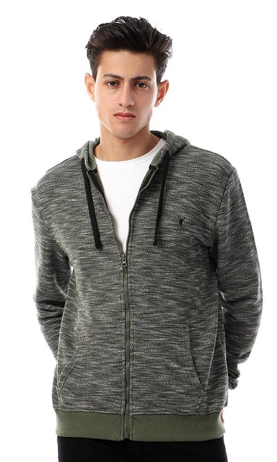 55946 Zipped Heather Dark Green Casual Sweatshirt - Ravin
