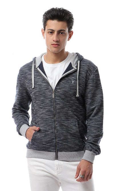 55948 Heather Navy Blue Knitted Coziness Hoodie