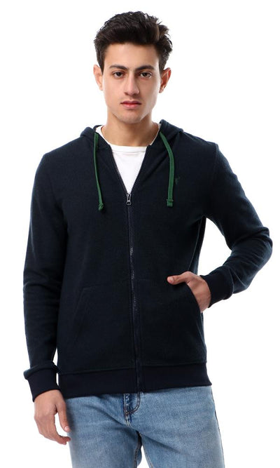55950 Self Pattern Light Weight Navy Blue & Green Hoodie - Ravin