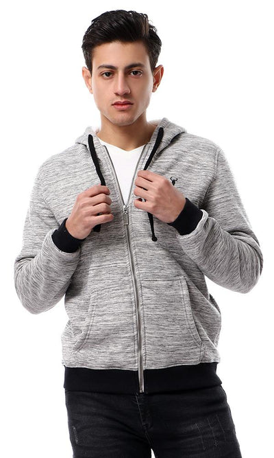 55959 Basic Coziness Heather Grey Hoodie With Fleece - Ravin