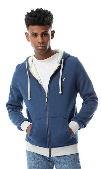 55962 Hooded Trendy Zipped Navy Blue Sweatshirt - Ravin