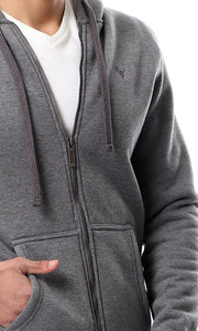 55967 Zipper Through Front Pocket Heather Dark Grey Basic Hoodie - Ravin