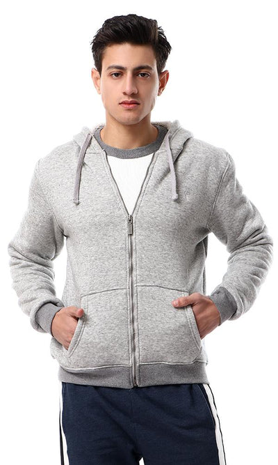 55975 Zipped Hooded Neck Heather Grey Hoodie With Fleece - Ravin
