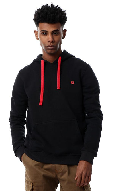 55993 Black Slip On Sweatshirt With Red Drawstring - Ravin
